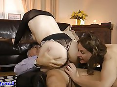 Mature, Stockings, Threesome