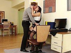 Office, Boobs, Lingerie, Stockings